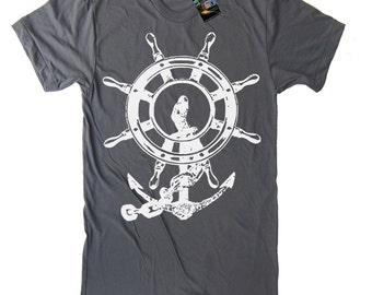 SALE - Men's Anchor Ship and Wheel Vintage Nautical T Shirt - American Apparel Tshirt - Asphalt - XSMALL