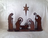 Nativity Set, Manger Set, Baby Jesus, Mary, Joseph, and Shephards, Silhouette Nativity Scene with Star