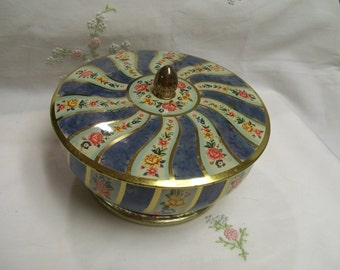 Decorative, Tin Container, Made in England, Blue Metal Container, Great for Candies, Buttons, Trinkets, Marbled  Blue Gold Floral Design