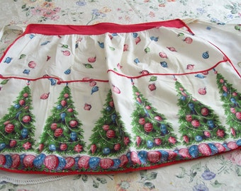 Holiday Apron Vintage Christmas Tree Half Apron Retro 1950s
