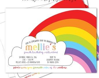 Retro Rainbow Birthday Invitation, Somewhere Over the Rainbow Birthday Party Invitation, Taste the Rainbow Party, Rainbow Invite - Printable