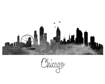Chicago Skyline Watercolor Art Print  - Color & BW