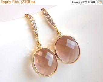SALE Peach Earrings, Glass Earrings, Zirconia, Champagne, Blush, Dangle, Bridesmaid Jewelry, Gold, Bridesmaid Earrings, Bridesmaid Gifts