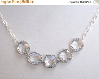 SALE Clear Necklace, Crystal Necklace, White Necklace, Glass Necklace, Wedding Jewelry, Bridal Jewelry, Bride Necklace, Bridesmaid Jewelry