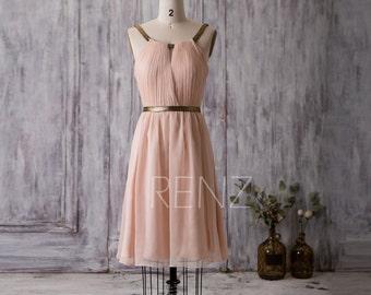 2016 Short Bridesmaid Dress, Peach Prom Dress, A Line Chiffon Wedding Dress, Formal Dress, Mix And Match Party Dress Knee Length (F066G)