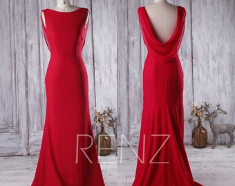 2017 Red Bridesmaid Dress with Train, Scoop Daraped Back Wedding Dress, Dackless Prom Dress, Long Chiffon Evening Gown Floor Length (H281)