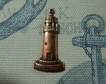 Copper Ox Large Lighthouse One Sided Charm Drop Pendant Stamping Ocean Sea