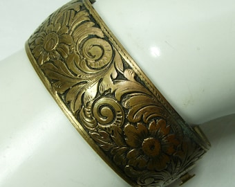 1940s Victorian Revival Clamper Hinged Bangle Bracelet Engraved Flower Motif Russian Goldtone Antiqued