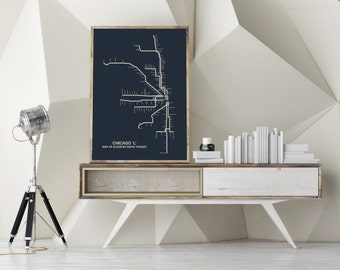 Chicago CTA Map , Chicago Canvas Map Art