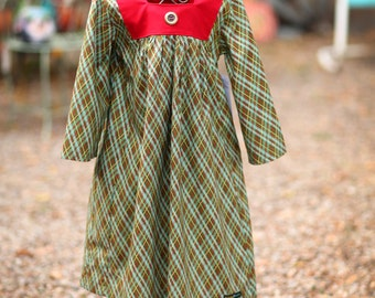 Evergreen Plaid Long Sleeve Dress with Square Yoke and Button Accents