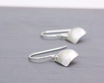 Domed Silver Square Earrings Small, Delicate Domed Earrings, Square Silver Earrings, Small Simple Earrings, Petite Earrings : SdiDsDvx.