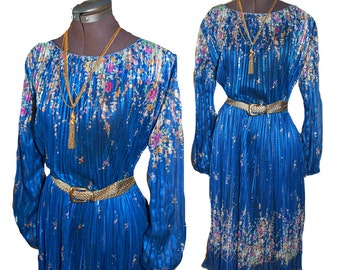 VTG 1970s Poet Bell Sleeve Sheer abstract Floral Micro Pleated Party Midi Summer Gypsy dress