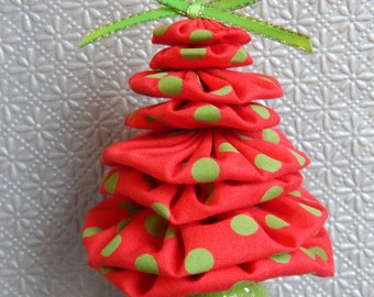 Red and Lime Green Christmas Tree Ornament