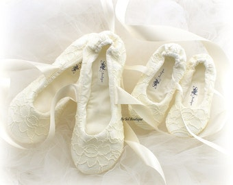 Flower Girl Flats, Ivory, Lace Flats, Ballet Flats, Bat Mitzvah,Confirmation, Birthday, First Communion, Prom, Flats, Ballerina Slippers