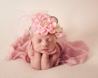 One of a kind Shabby Chic Newborn Headband, Baby Girl Headband,  Photo Prop, Hair Accessory