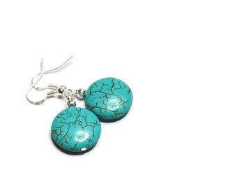 Turquoise Earrings - Turquoise Magnesite Dangle Drop Earrings - Coin Earrings - Dangle Earrings - Gypsy Earrings Blue Green Earrings