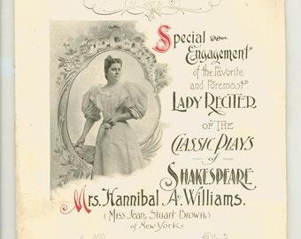 Victorian Era Shakespearean Recitation Special Engagement Lady Reciter Plays of Classic Shakespeare Antique Promotional Brochure Circa 1900