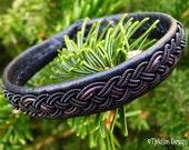 Gothic Black Viking Pagan Sami Bracelet JORMUNGANDR Ebony Antique Braid Unisex Leather Bracelet - Custom Handmade Nordic Folklore Jewelry