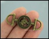 5 HORSE Stirrup Charm Connector - 42x14mm Antiqued Bronze Horse Snaffle Link - Horse Bit Nickel Free Charm - USA DIY Wholesale Charm - 6478