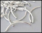 25 SILVER Curved TUBE Beads - 50X3mm Brass Metal Tubes w/ 2.4mm Hole - For Leather Bangle Bracelets - USA Wholesale Beads - 5377