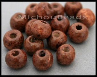 BULK 50 - 8mm Round Dark BROWN Wood Beads - Large 2mm hole Coated Wooden Hand Cut Rondelle Beads - Instant Shipping from USA - 6777