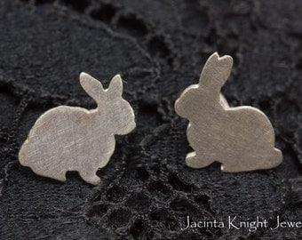 Sterling silver bunny rabbit stud earrings