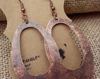 Large oval dangle earrings, Antique copper oval earrings