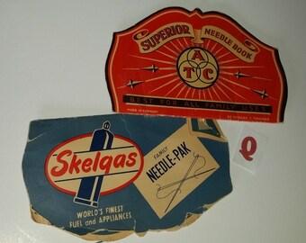 Q Vintage advertising sewing needle book lot needles card case blue red paper art supplies ephemera