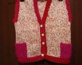 Baby Vest With Buttons, Toddler Vest, Child Vest, Vintage Knit Red Vest, Pockets Flower Buttons,Red, Pink, Cream, Vintage Baby Clothes