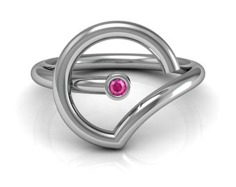 Abstract Pink Blue Yellow Sapphire Emerald Ruby Solitaire Ring in 14k White Gold 2mm wide | made to order for you within 5-7 business days