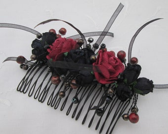 Hair comb black red roses beads ribbons bridal wedding prom