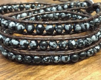 Snowflake Jasper Leather Wrap Bracelet, Similar to ChanLuu Three times around cuff SALE PRICE !