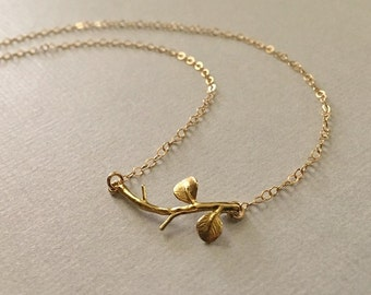 Branch Necklace in Gold Fill -Gold Branch Necklace -Nature Necklace