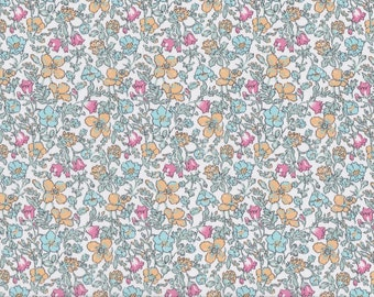 Fat Eighth Meadow N Liberty of London, Classic pink and aqua floral Liberty print