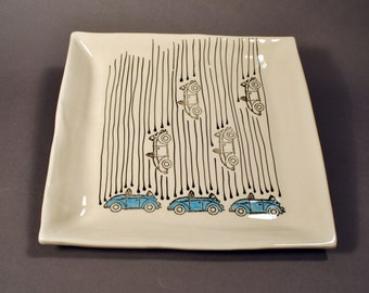 Large Handmade Ceramic Plate with Dipping Bowl, Raining Bugs Platter