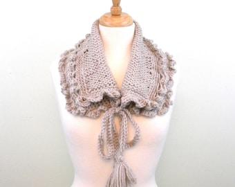 Tan Acrylic Knit and Crochet Neckwarmer Collar with Tassels