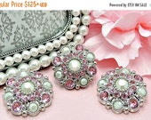 ON SALE Rhinestone Button LARGE Buttons Pink & Pearly White Plastic Acrylic Rhinestone Button Hair Comb Clip Wedding Supply 28Mm 5051 26 J2