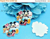 ON SALE Mickey And Minnie Mouse Planar Resin Cabochons Flat Back Scrapbooking Hair Bow Centers Card Making Crafts Embellishments