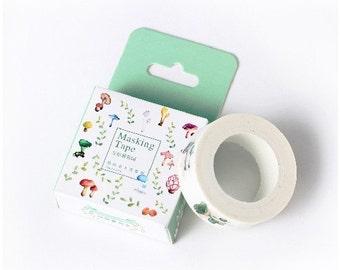 Japanese Washi Masking Tape - Colorful Fungus - 11 Yards