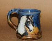 Handmade Stoneware Mug with Gypsy Vanner Portrait