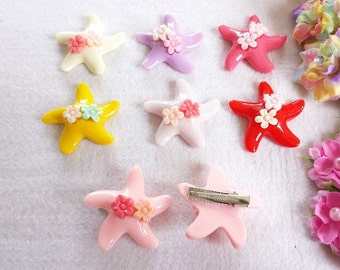 10 Assorted Starfish Hair Clips Party Favors