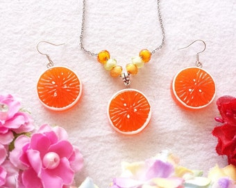 Citrus Orange Set of Necklace and Earrings