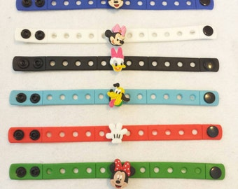 10 Mickey Mouse and Friends  Silicone Charm Bracelets