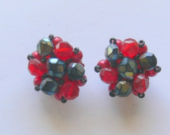 germany clip red and black earrings
