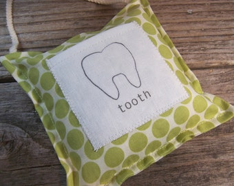 green polka dotted modern tooth fairy pillow , ready to ship , toddler room decor , green hanging pillow with pocket , tooth fairy.