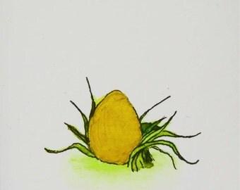 Miniature Golden Egg Framed Art | Handmade, Natural Wood Frame | Egg Art | Food Art | Tiny Paintings | Watercolor | Wall Decor Tiny Painting