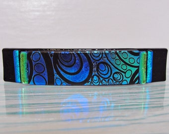 "Medium Dichroic Fused Glass Barrette, 3-1/4"" Ponytail Barrette, Blue and Green Dichroic Glass Hair Clip, Gifts For Her Under 30 Dollars"