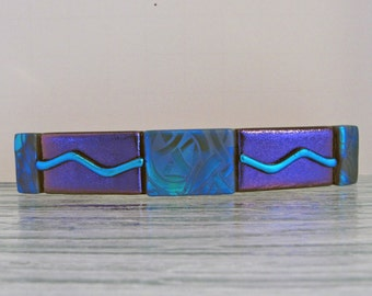 """Large 4-1/4"""" Dichroic Fused Glass Barrette Purple and Blue Hair Barrette Dichroic Jewelry Accessories Gifts for Women Girls Under 35 Dollars"""