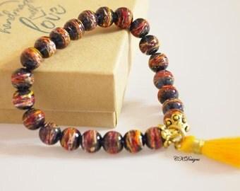 SALE Yellow Tassel Beaded Bracelet, Stackable bracelet,  Tassel Beaded Stretchy Bracelet. Gift for Her, OOAK Handmade Bracelet.