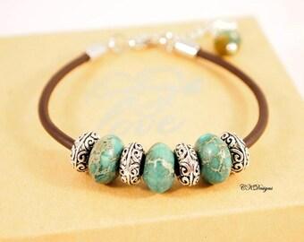 Brown Leather Jasper Bracelet, Jasper and Leather Bracelet,  Boho Jewelry, Southwestern Jewelry, CKDesigns.US